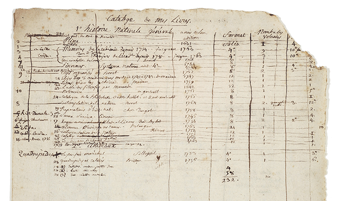 "<p>A four-page manuscript catalogue of the library of Adanson, ca.1767–1768, Michel Adanson Library AD 271, HI Library. Numbers were added to these entries, referred to as ""collationé"" numbers, which he also wrote on the title pages of his books.</p>"