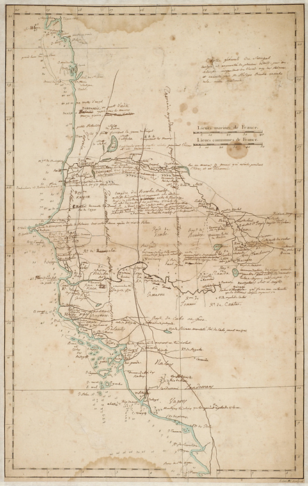<p>Michel Adanson's annotated manuscript map of Senegal drawn by Philippe Buache, July 1757, Michel Adanson Library AD 260, HI Library.</p>