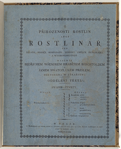 <p>Wrapper for part four, Friedrich von Berchtold (1781–1876) and Jan Svatopluk Presl (1791–1849), <em>O Prirozenosti Rostlin aneb Rostlinár</em> (Prague, Jos. Krause, 1823–1835), HI Library call no. DS1 B485P.</p>