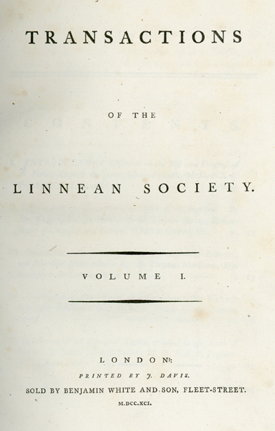 <p>Title page of <em>Transactions of the Linnean Society</em> (London, 1791, vol. 1), HI Library call no. PL758t.</p>