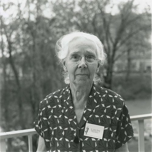 <p>E. Lucy Braun (1889–1971), Michigan State University, May 1964, 16.5 × 11.5 cm, photograph by Walter H. Hodge, HI Archives portrait no. 1.</p>