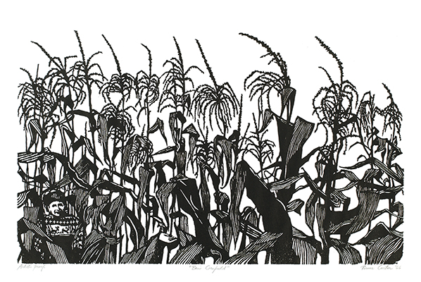 <p>Ben's cornfield, woodcut on paper by Charles Bruce Carter (1930–), 1966, artist's proof, 37.5 × 62 cm (<em>image</em>), 54.5 × 70.5 cm (<em>paper</em>), HI Art accession no. 5452, reproduced by permission of the artist.</p>