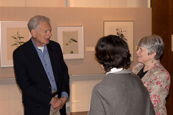 <p><em>From left</em>, Peter Moshein, Curator of Art Lugene B. Bruno and Librarian Charlotte A. Tancin, opening reception for <em>Dangerous Beauty: Thorns, Spines and Prickles</em>, 18 September 2014, photograph by Frank A. Reynolds, reproduced by permission of the photographer.</p>