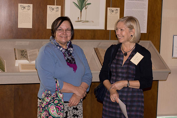 <p><em>From left,</em> Angella Braddick Raczkiewicz and artist Jeni Neale, opening reception for <em>Dangerous Beauty: Thorns, Spines and Prickles</em>, 18 September 2014, photograph by Frank A. Reynolds, reproduced by permission of the photographer.</p>