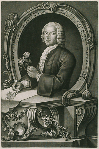 <p>Georg Dionys Ehret (1708–1770), mixed mezzotint, stipple and line engraving, 56 × 40.5 cm, by Johann-Jakob Haid (1704–1767) after a portrait by Anton Heckell (1745–1798) for Christoph Jacob Trew (1695–1769), <em>Plantae Selectae</em> (Nuremburg, 1750–1773), HI Archives portrait no. 1.</p>