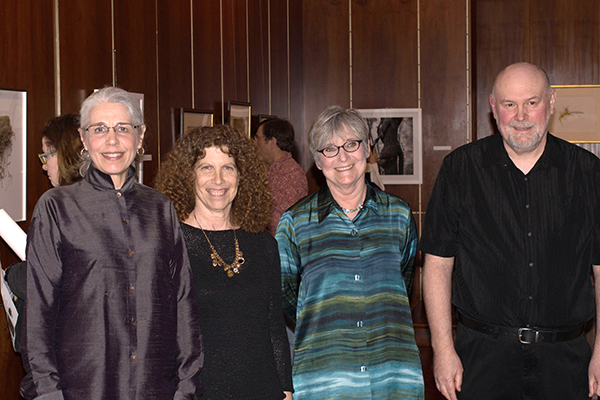 <p>Artists Wendy Brockman, Sue Abramson, Kate Nessler and David Morrison at the <em>Elements</em> opening reception, 19 March 2015, photo by Frank A. Reynolds, reproduced by permission of the photographer.</p>