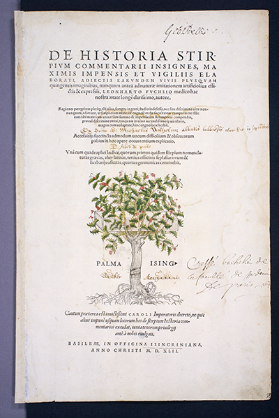 <p>Title page with Michael Isingrin's (1500–1557) printer's mark, a cross within a holly tree, for Leonhart Fuchs (1501–1566), <em>De Historia Stirpium Commentarii Insignes ...</em> (Basel, In officina Isingriniana, 1542), HI Library call no. +CA F951h.</p>
