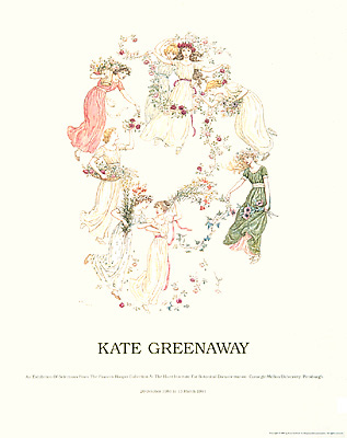 "<p>Young ladies with flowers, a full-color reproduction of a previously unpublished watercolor by Kate Greenaway and one of two done to illustrate the double title page of a manor guestbook, 22 × 28"".</p>"