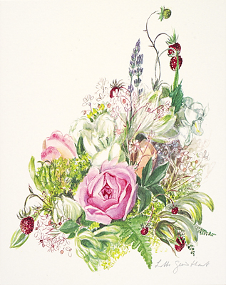 "<p>Rose bouquet, a granolitho of a watercolor by Lotte Günthart, printed on handmade paper by Lichtdruck/Matthieu AG, Dielsdorf, Switzerland, 7.5 × 9.5"", 1984.</p>"