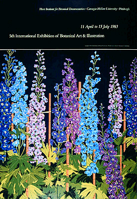 <p>Delphiniums, a full-color reproduction of a painting by Tjelda Michas, 1983, 19.5 × 28 inches