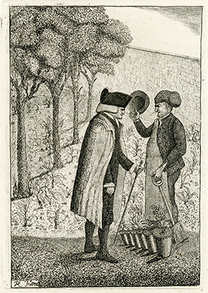 <p>[John Hope (1725–1786) speaking with his gardener, probably Malcolm McCoig (?–1789), at the Royal Botanic Garden Edinburgh, Leith Walk], etching by John Kay (1742–1826), 1786, 11 × 8 cm, after his drawing, which was republished in Hugh Paton, <em>A Series of Original Portraits and Caricature Etchings by the Late John Kay, with Biographical Sketches and Illustrative Anecdotes</em> (Edinburgh, Carver and Gilder, 1838, vol. 2, pt. 2, p. 415), HI Archives portrait no. 1.</p>