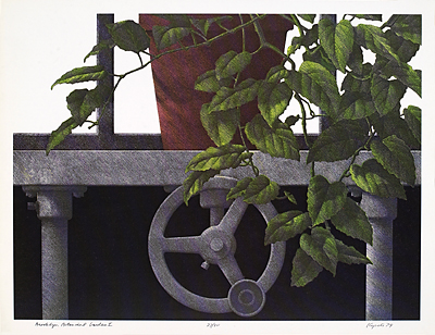 "<p>4. Brooklyn Botanical Garden I, screen-colored lithograph by Hugh Kepets, 1974, 9 15/16 × 7 5/8""</p>"