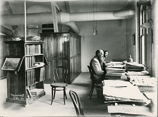 <p>Cyrus Guernsey Pringle (1838–1911) and his assistant Filemón Lozano (fl.1905–1910), in Williams Science Hall at the University of Vermont, 1911, photograph by B. F. Lutman from original glass negatives in the Department of Botany at the University of Vermont, HI Archives portrait no. 5.</p>