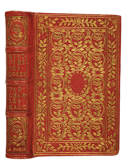 "<p>Rachel Hunt's 29 March 1918 rebinding of Charles Malo (1790–1871), <em>Histoire des Roses</em> (Paris, L. Janet, [1818]), Hunt binding 115, HI Library call no. RMMH 115. Titcombe described the binding as, ""Rose crushed levant morocco. Rose marbled endpapers. Edges rough gilt; edges of boards tooled. Covers elaborately tooled with roses and leaves in a pattern adapted from a binding 'by Clovis Eve for Mauguerite de Valois'"" (1974, p. 53).</p>"
