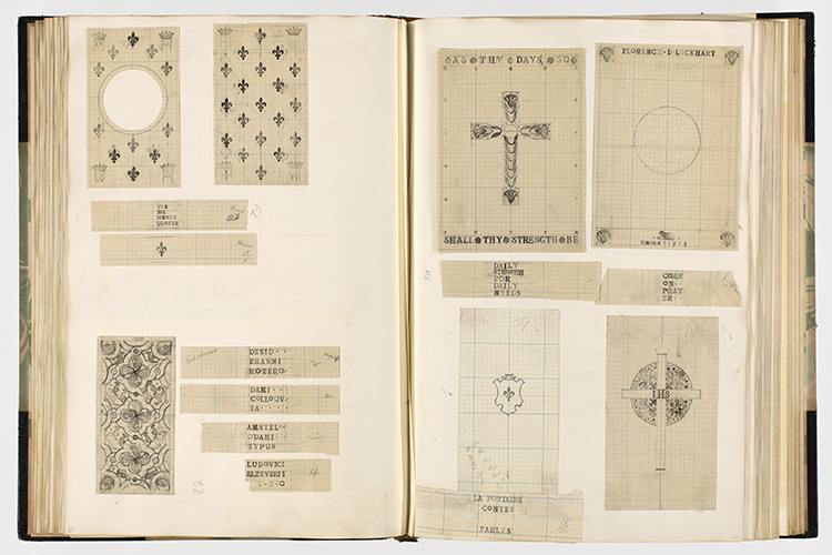 <p>A page from Rachel Hunt's bookbinding design scrapbook.</p>
