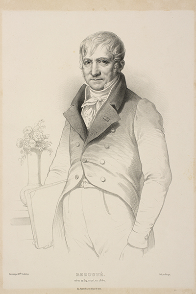<p>Pierre-Joseph Redouté (1759–1840), lithograph by François-Fortuné-Antoine Férogio (1805–1888) after an original by Marie Eléonore Godefroy (1778–1849) for Redouté,<em> Le Bouquet Royal</em> (Paris, Lacrampe, 1843, leaf following title page), HI Archives portrait no. 1 and HI Library call no. DQ2 R319B.</p>